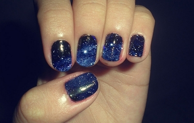 beautiful, blue, dark, design, finger, glitter, moon, nail polish, nails, outer space, stars