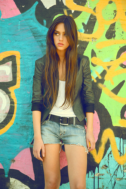 beautiful, brunette, cute, fashion, girl, hair, jeans, lips, long hair, pretty, shorts, wall