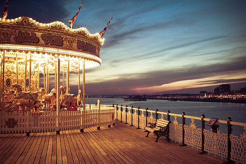 beautiful, carousel, dark, fun, park, photography, pretty, scenery, sky, sunset