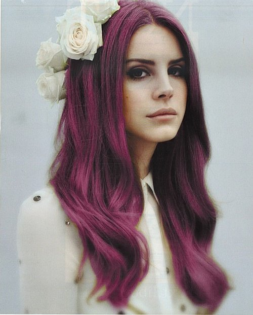 beautiful, flowers, girl, grunge, hair, lana del rey, pretty, purple
