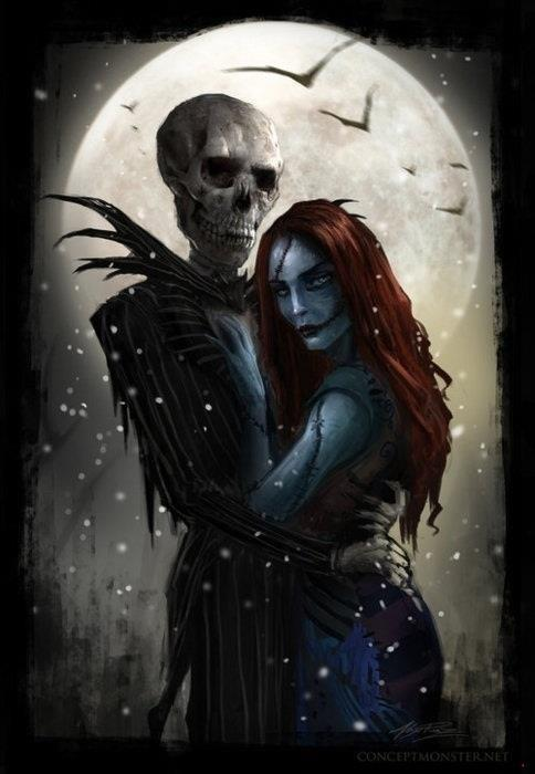 beauty, cold, couple, dark, death, disney, draw, emily, gothic, horror, jack, jack skeleton, love, moon, nightmare before christmas, red hair, snow, tim burton