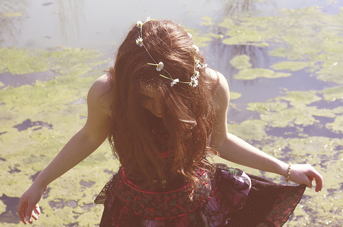 beauty, flowers, girl, vintage