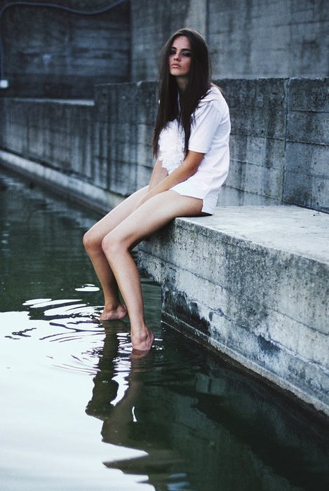 beauty water, body, brunette, dress