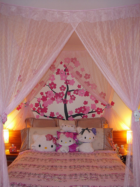bed, bedroom, charmmy kitty, cute, decor, girly, hello kitty, pink