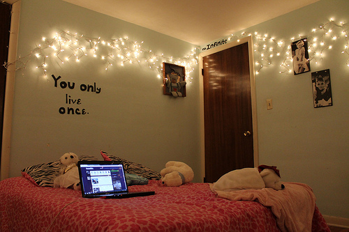 bed, bedroom, life, lights, live, photography, quote, room, text, tumblr