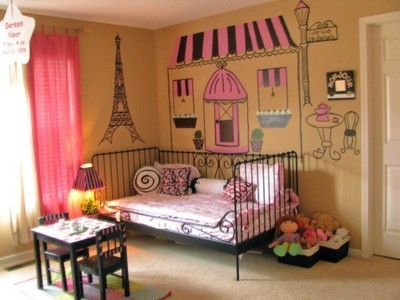 bed, cute, paris, pink, room