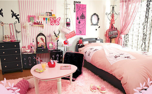bed, decor, pink, room