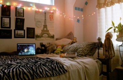 bed, lights, paris, room