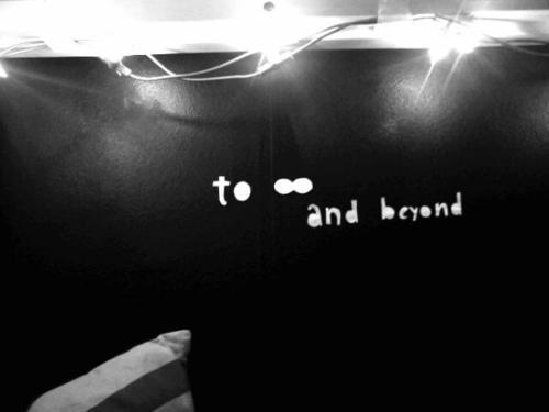 bedroom, black and white, fashion, inspiration, lights, photography, quote, to infinity and beyond, toy story, wall