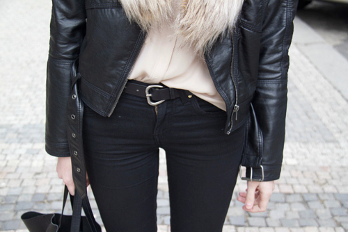 belt, black, closet, clothes, detail, fashion, girl, jeans, leather, leather jacket, outfit, shirt, style