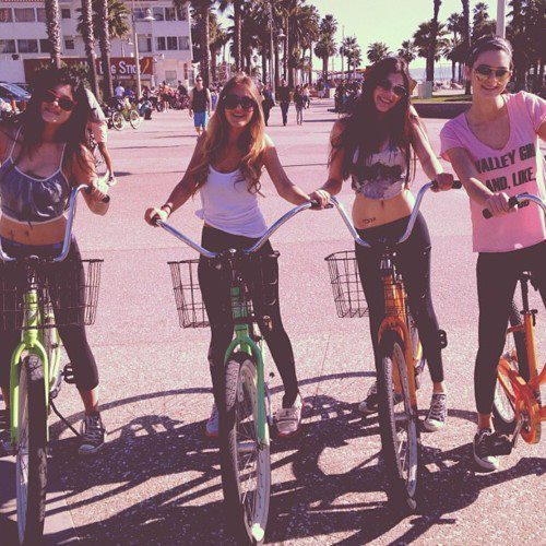bike, blonde, brunette, friends