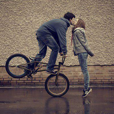 bike, boy, girl, kiss