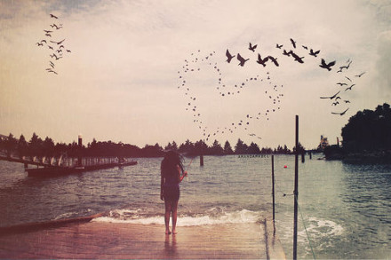 birds, girl, lake, landscape, scenery, vintage