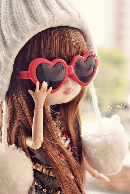 bjd, cute, dal, doll, girl, girlish, glasses, heart, love, pink, pullip, pure, red, sunglasses, sweet, taeyang