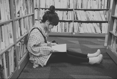 black and white, books, girl, read