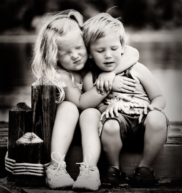 black and white, child, children, couple