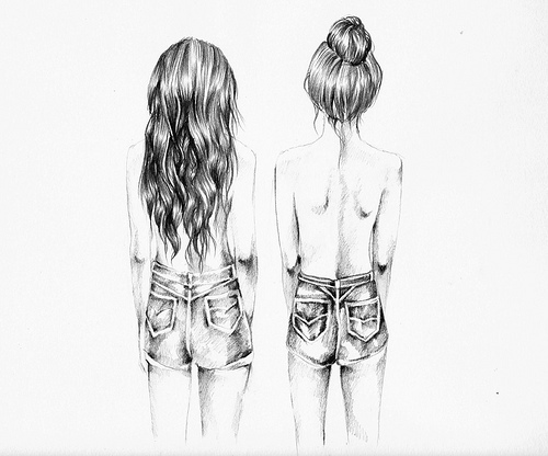 Black and white cute draw girly image 500741 on for Things to draw for teenage girls