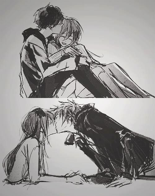 black and white, drawing, girl and boy, happy, kawaii, kiss, love, saranghae, smile