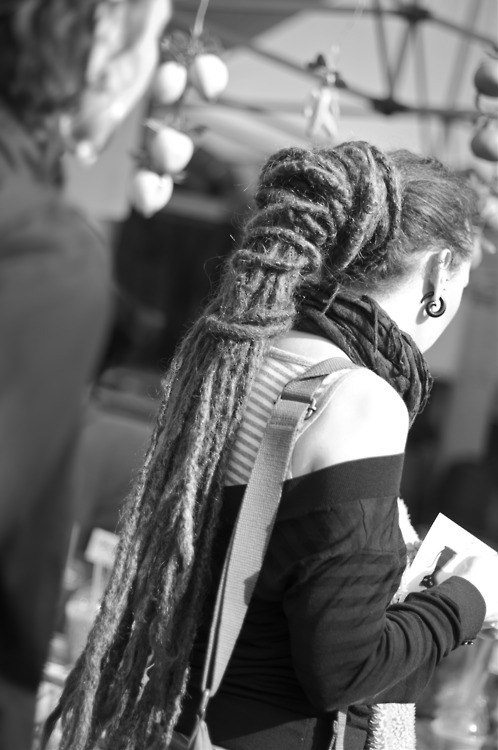 black and white, dreadlocks, dreads, girl