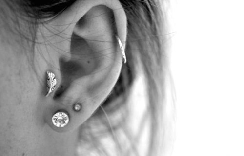 black and white, ear, indie, piercing