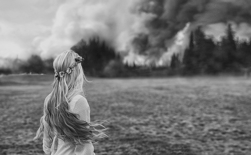 black and white, elvishwisdom, fire, flower crown