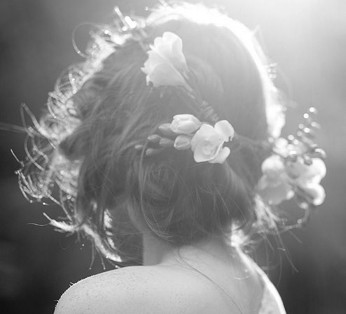 black and white, elvishwisdom, flower, flower crown, flowers, girl, hair, nature