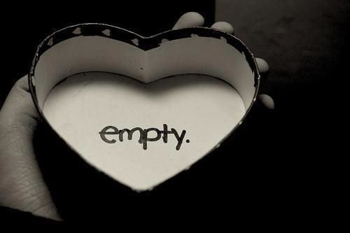 black and white, empty, empty heart, heart, love, pain