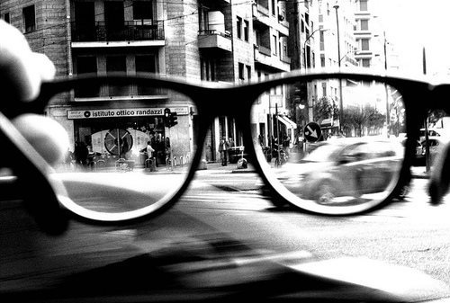 black and white, glasses and photography