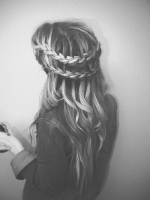 black and white, hair, pretty, waterfall braid