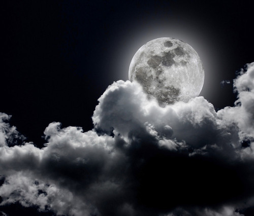 black and white, moon, night, perfect - image #495658 on ...