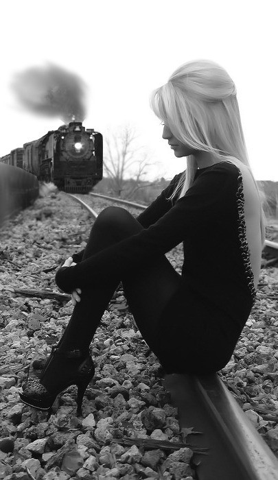 black, black and white, blonde, dress, girl, hair, heels, shoes, train, white, wtf