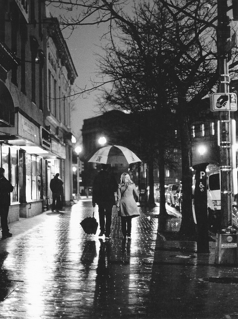 black, black and white, boy, couple, girl, man, people, rain, umbrella, white, woman