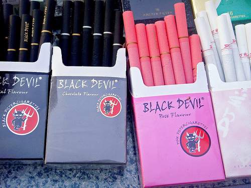 black, black devil, cigarettes, guurl, pink, smoke, smoking