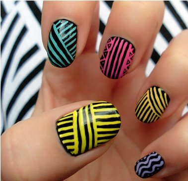 black, blue, dots, nail art, nail design, nail polish, nails, orange, pink, purple, stripes, wavy, yellow, zig zag