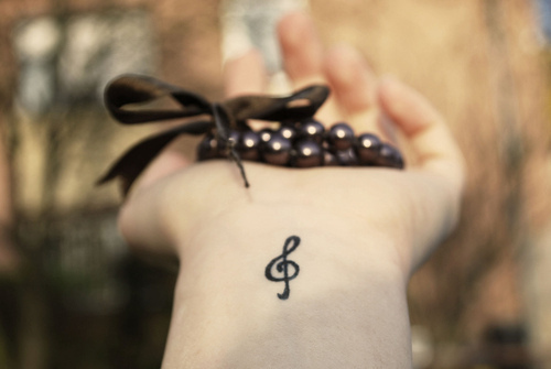 black, bow, cool, note, tattoo