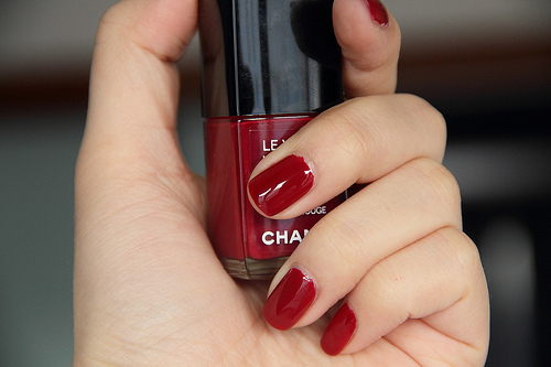 black, chanel, cool, cute, fashion, girl, girly, nail polish, nails, nice, polish, pretty, red