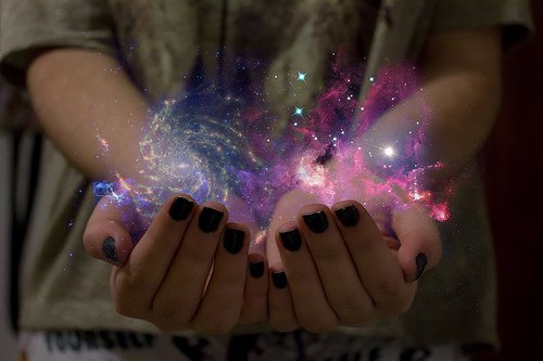 black, colors, nails, nebula, photography, purple, space, stars