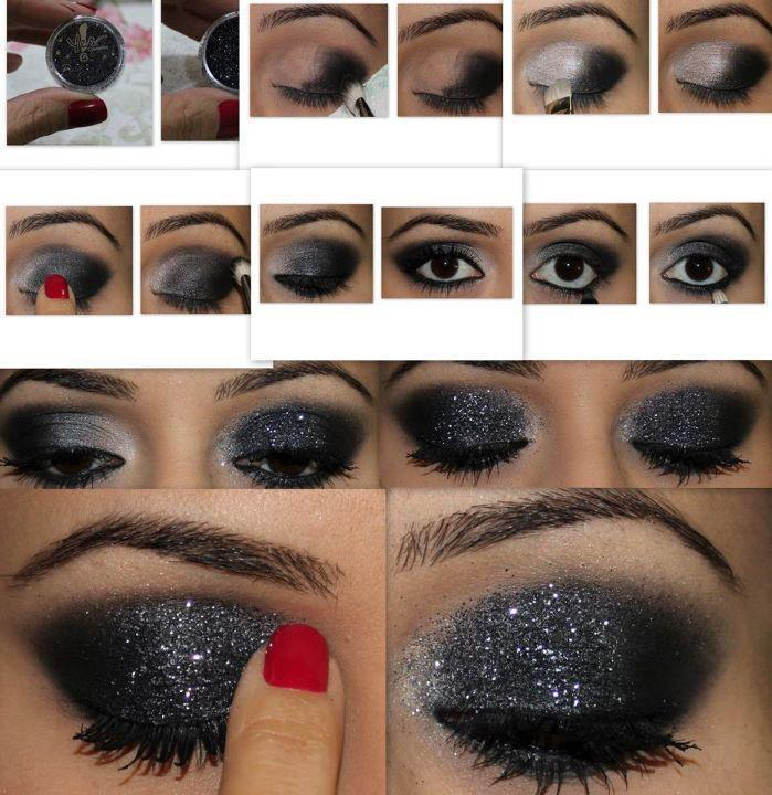 black, eye, girl, glitter