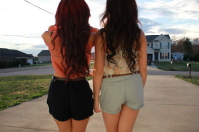 black hair, cute, fashion, friends, girls, hair, red hair