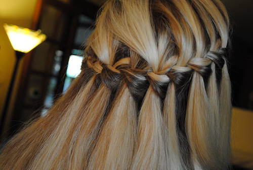 blond, braid, brown, girl, hair, highlights, lovely, nice, photography, waterfall braid