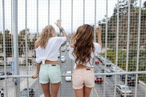 blonde, blue, bracelet, brunette, car, cars, clouds, color, curly, denim, edge, fashion, fence, girls, high way, hipster, hype, intersection, jewelry, jump, long hair, mountain, peach, shirt, shorts, sky, style, tank, tee, white