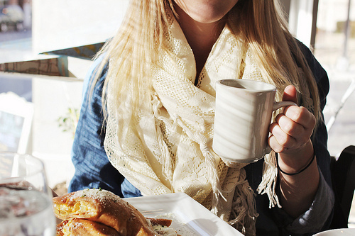 blonde, breakfast, coffee, drink, girl