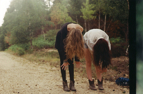 blonde, brunette, forest, friends, friendship, girls, greenery, hair, indie, natural, nature, trail, trees