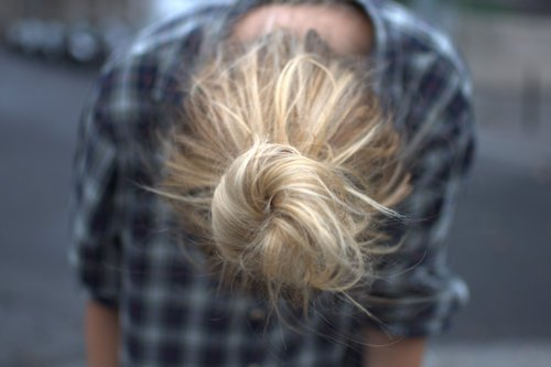 blonde, bun, checked, fashion