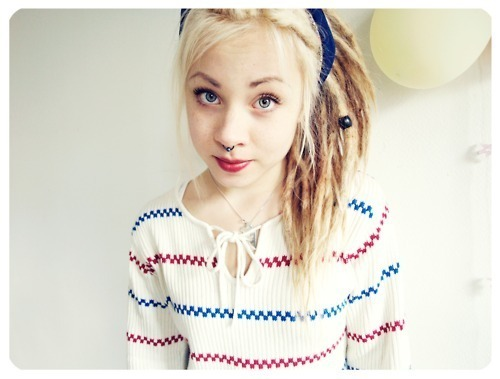 blonde, cute, dreads, girl, nose ring