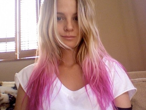 blonde, dyed, girl, hair, long, long hair, pink