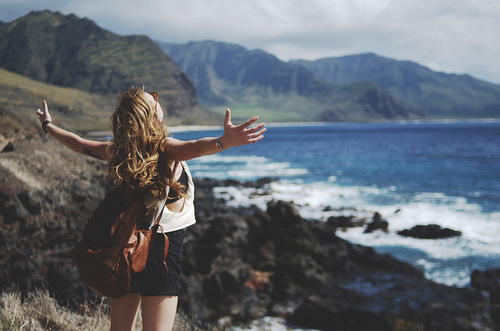 blonde, fashion, free, girl, hipster, infinitive, landscape, nature, sea, shorts, style, vintage, water, young
