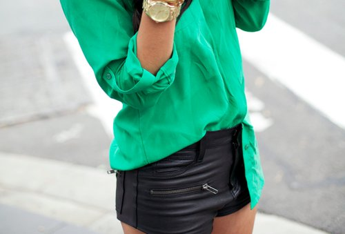 blouse, fashion, girl, green, leather, shorts, street style, watch
