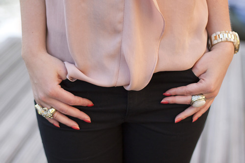 blouse, girl, gold, jeans, nails, rings, top, watch