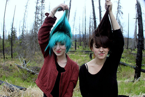 blue, blue hair, brunette, cute, cute girls, forest, girls, jacket, red, woods